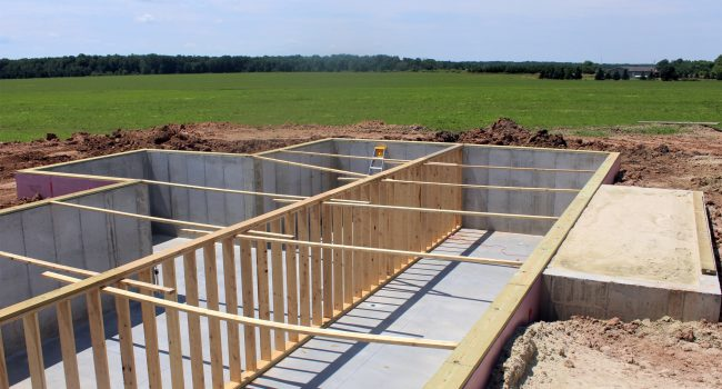 Poured basement ready for a house to be built